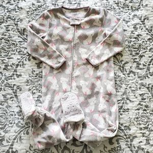 Carter's Grey Cat Print Zip Up Footed Pajama 3T